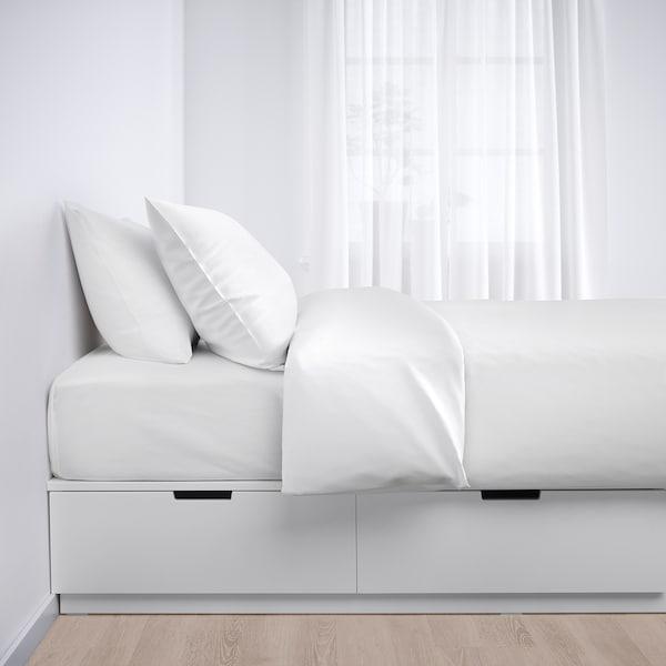 NORDLI Bed frame with storage, white, 90x200 cm