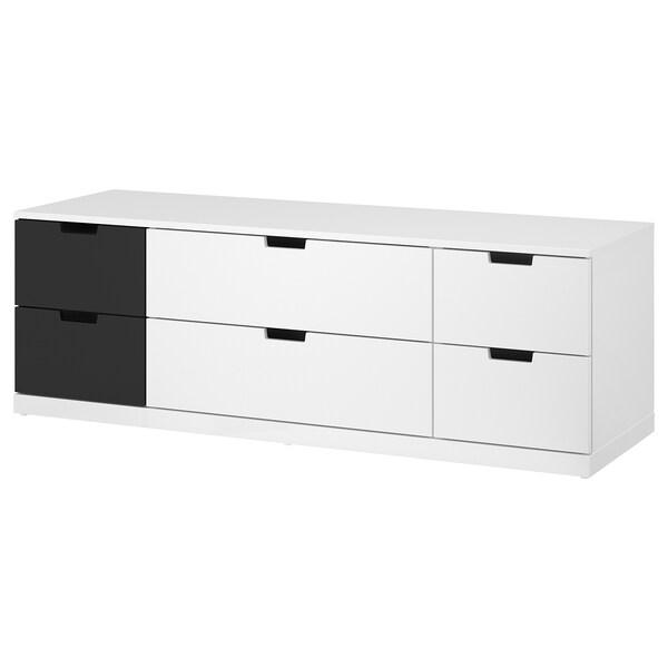 NORDLI Chest of 6 drawers, white/anthracite, 160x54 cm
