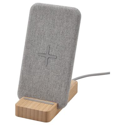 NORDMÄRKE Wireless charging stand, bamboo