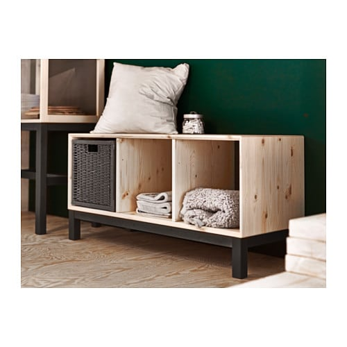 Norn s bench with storage compartments pine grey ikea Storage bench ikea