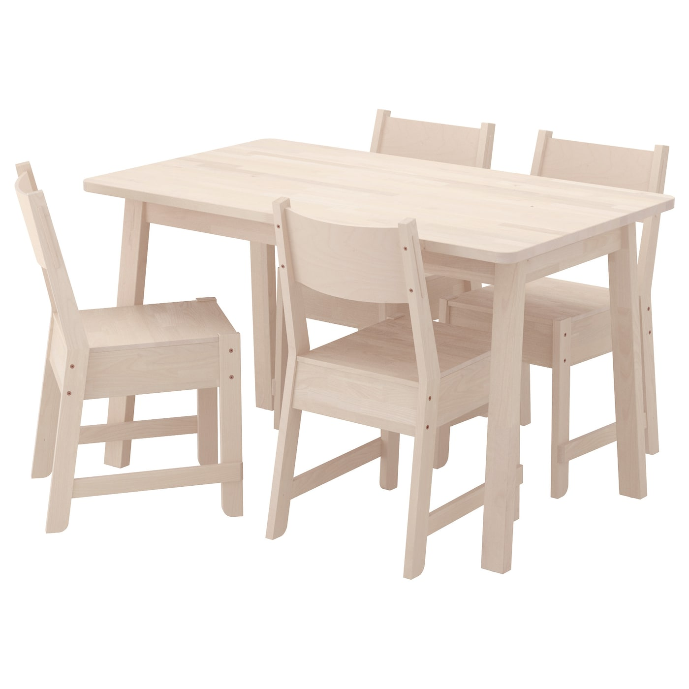 Norr ker norr ker table and 4 chairs white birch white for Ikea dining table and chairs set