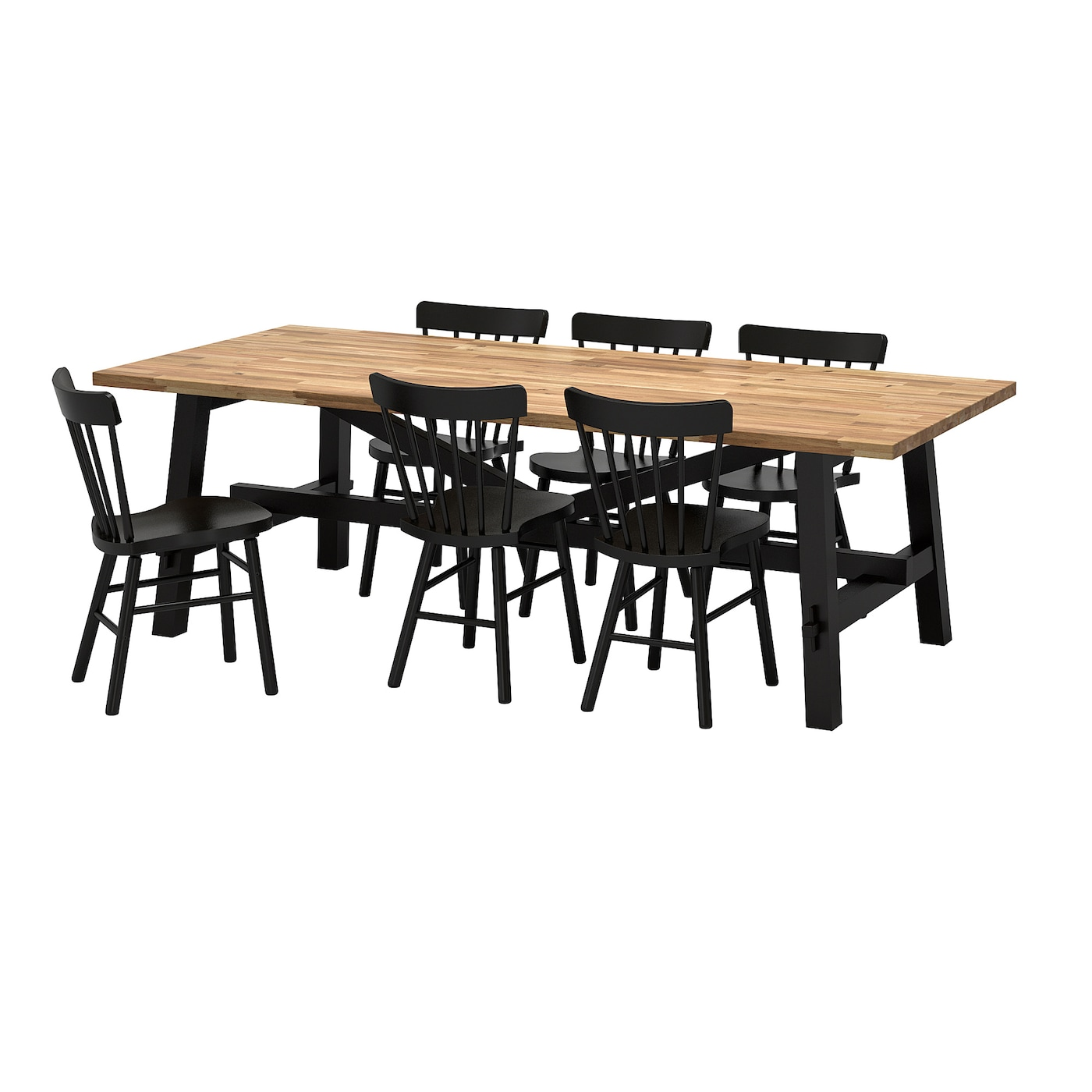 Norr ker skogsta table and 6 chairs acacia black 235x100 for Table en bois ikea