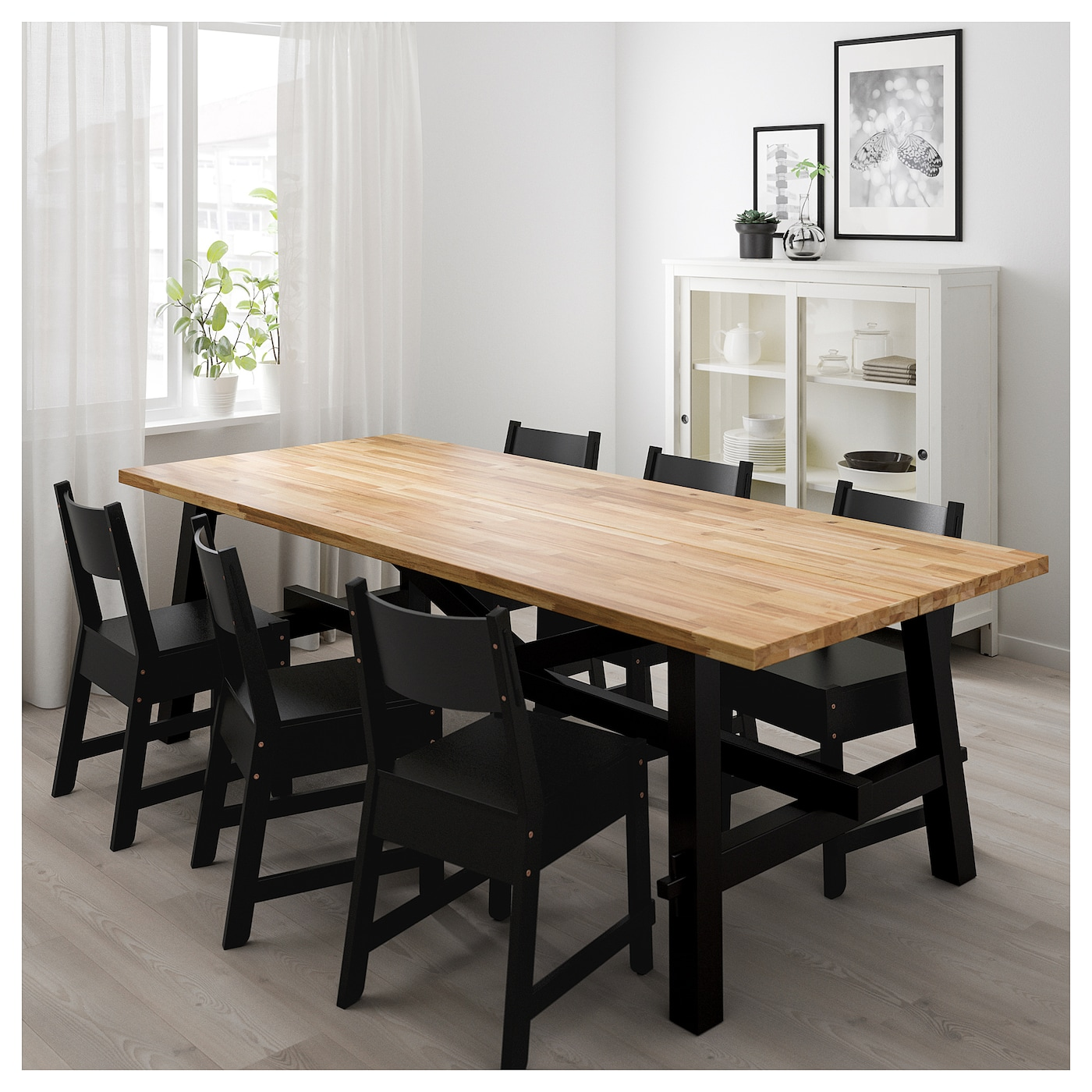 norr ker skogsta table and 6 chairs acacia black 235x100