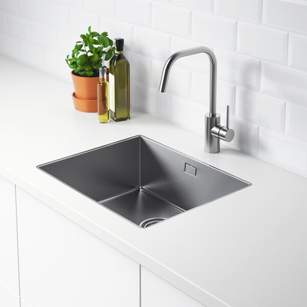 NORRSJÖN Inset sink, 1 bowl, stainless steel for custom made worktop laminate, 54x44 cm