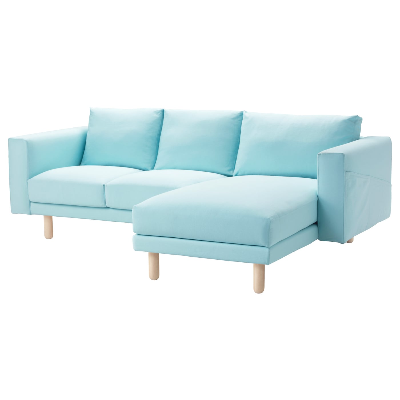 norsborg two seat sofa with chaise longue gr sbo light blue birch ikea. Black Bedroom Furniture Sets. Home Design Ideas