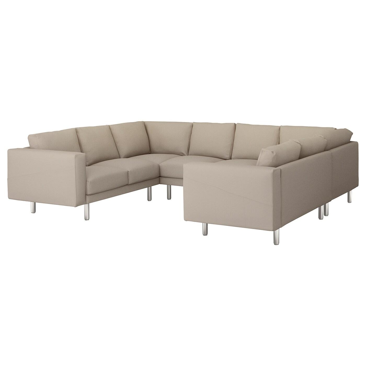 NORSBORG U shaped sofa 6 seat Gräsbo beige metal IKEA