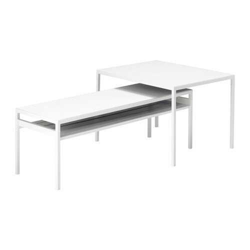 Nyboda Nest Of Tables With Reversible Tops Set Of 2 White Grey Ikea