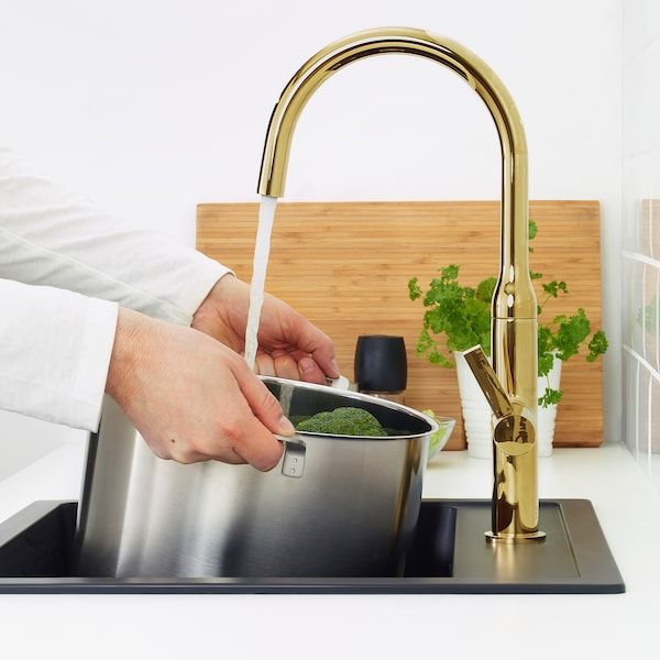 NYVATTNET Kitchen mixer tap, polished brass-colour