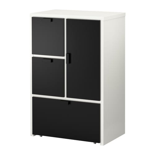 ODDA Chest of 3 drawers/1 door IKEA Smooth running drawer with pull-out stop.  The bottom drawers have castors and therefore easy to move about.
