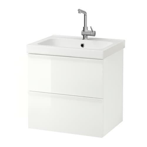 ODENSVIK GODMORGON Wash Stand With 2 Drawers High Gloss White 60x49x64 Cm IKEA