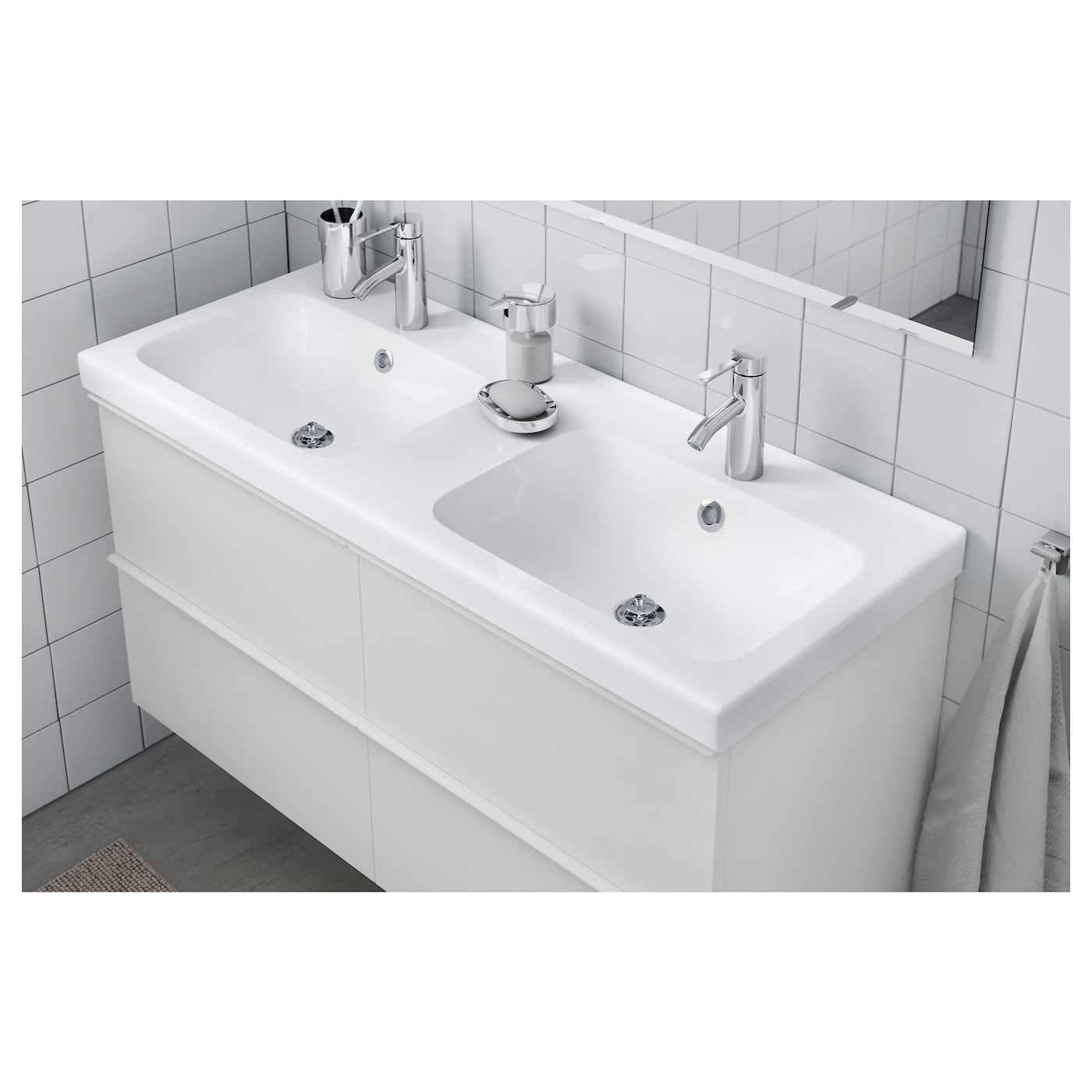 double bowl bathroom sinks odensvik wash basin 123 x 49 x 6 cm ikea 18175