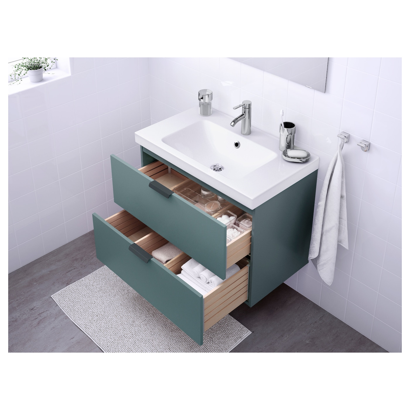 odensvik godmorgon wash stand with 2 drawers grey turquoise 80x49x64 cm ikea. Black Bedroom Furniture Sets. Home Design Ideas