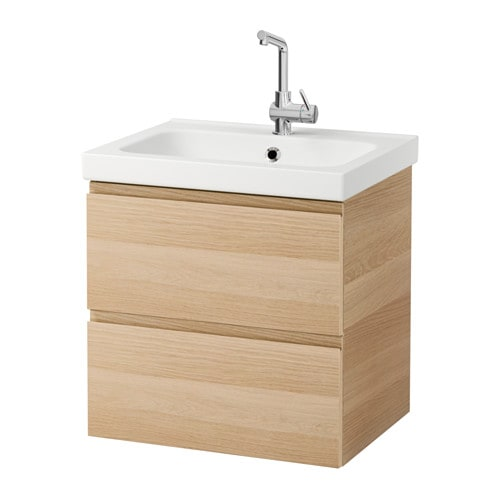 Ikea Glasvitrine Beleuchtung ~ ODENSVIK GODMORGON Wash stand with 2 drawers White stained oak effect