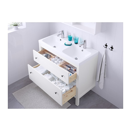 Odensvik hemnes wash stand with 2 drawers white 100x49x89 for Miroir ikea hemnes