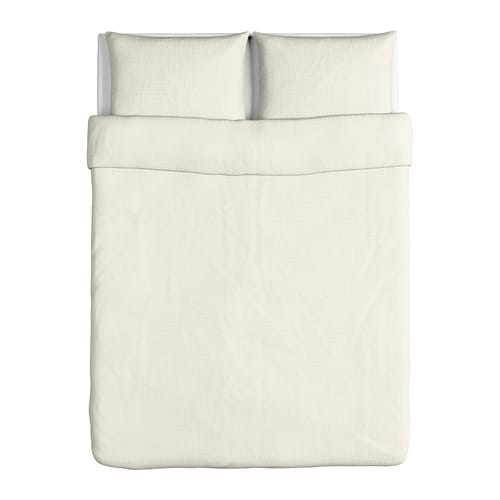 Ofelia vass quilt cover and 2 pillowcases white 200x200 for Lit 200x200 ikea