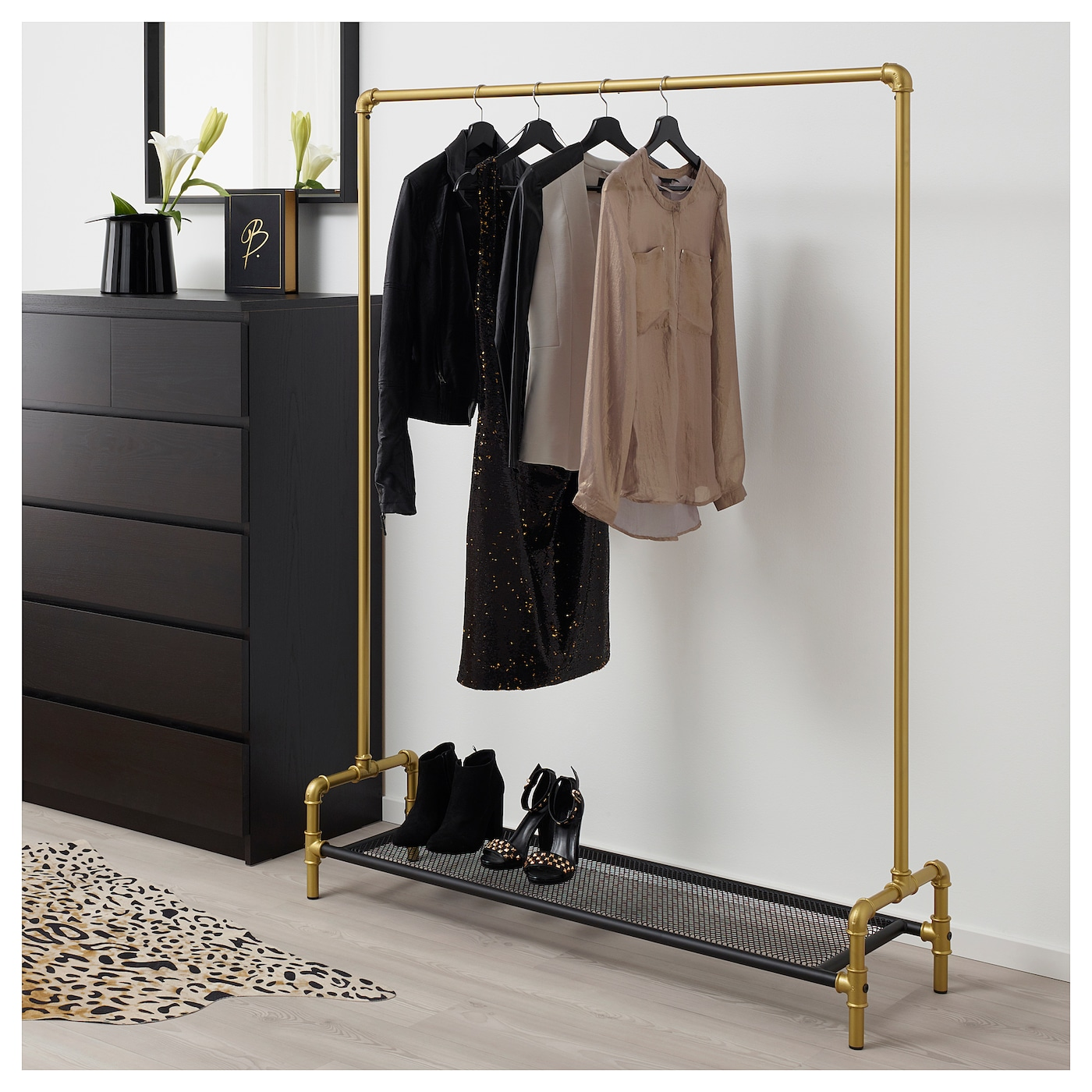 omedelbar clothes rack black/gold-colour 125x36 cm - ikea