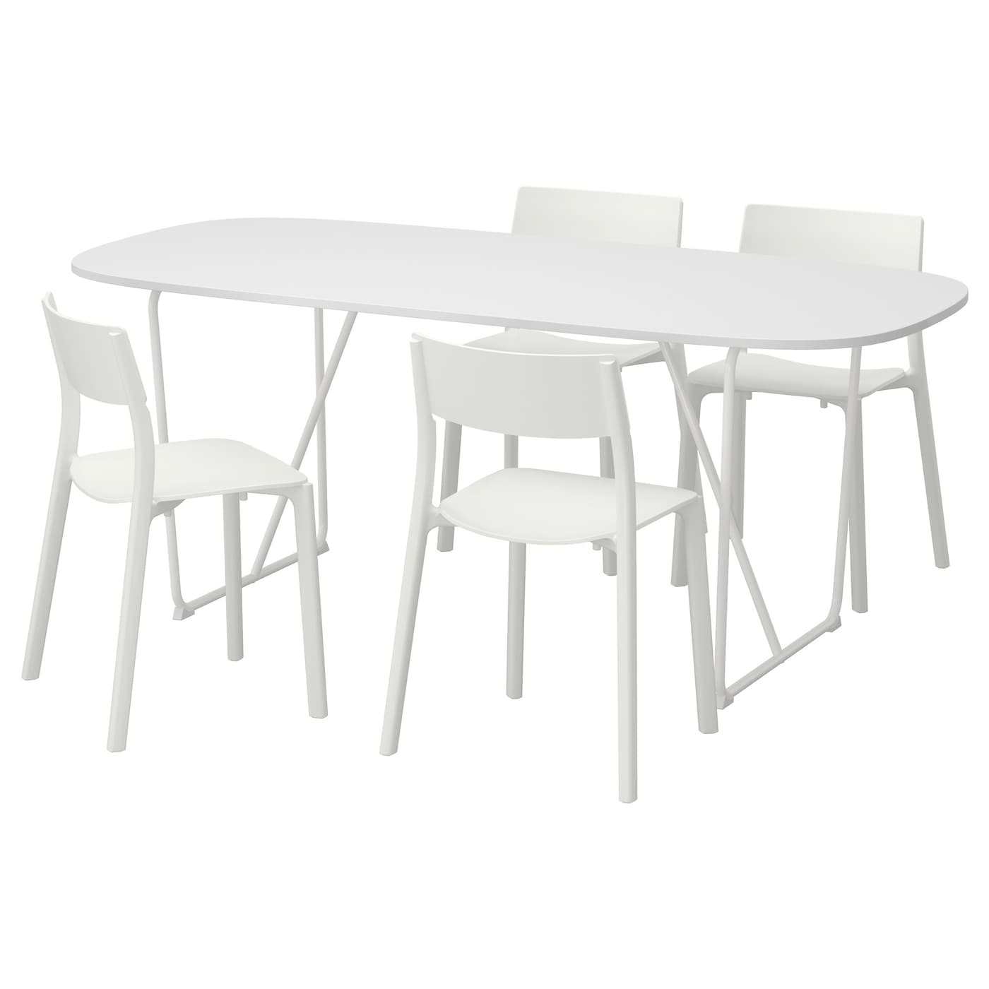 oppeby backaryd janinge table and 4 chairs white white 185 cm ikea