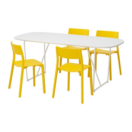 OPPEBYBACKARYDJANINGE Table And 4 Chairs Whiteyellow