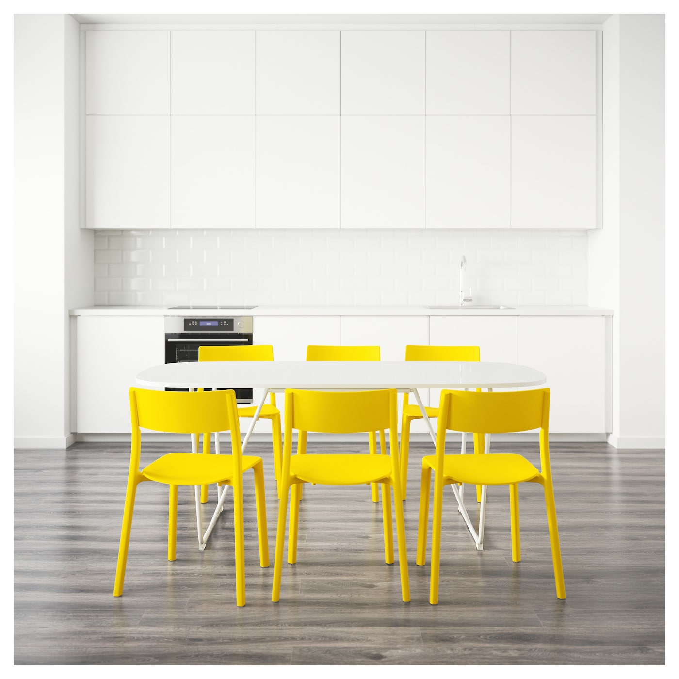 OPPEBY BACKARYD JANINGE Table and 6 chairs White yellow 185 cm IKEA