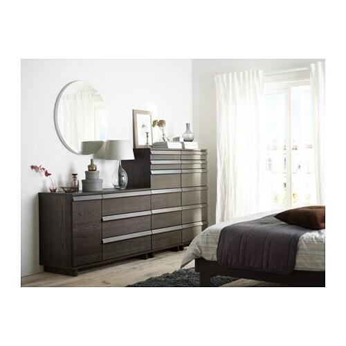 Ikea Aneboda Three Drawer Dresser ~   Chest of 3 drawers 1 door Brown stained ash veneer 120×80 cm  IKEA