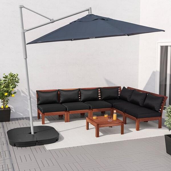 OXNÖ / LINDÖJA parasol, hanging with base blue/Svartö dark grey 180 g/m² 265 cm 300 cm