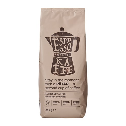 IKEA PÅTÅR espresso coffee A rich and intense dark coffee with notes of sweet fruits.