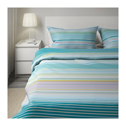 palmlilja quilt cover and 4 pillowcases turquoise 200x200