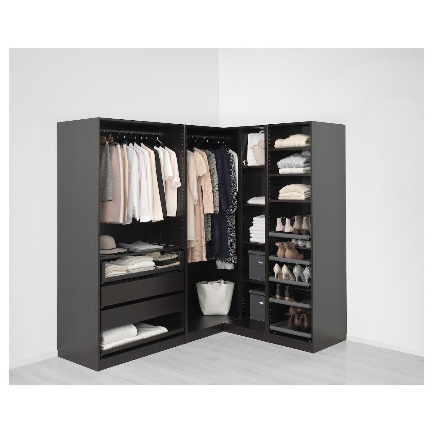 pax corner wardrobe black brown undredal undredal glass. Black Bedroom Furniture Sets. Home Design Ideas