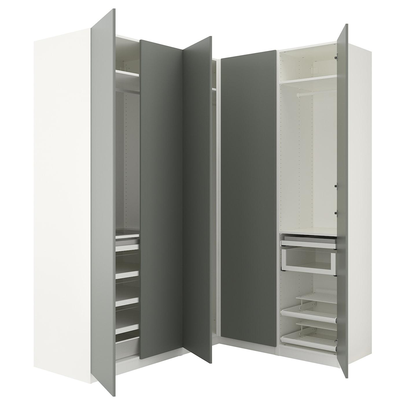 pax corner wardrobe white reinsvoll grey green 210 160 x 236 cm ikea. Black Bedroom Furniture Sets. Home Design Ideas