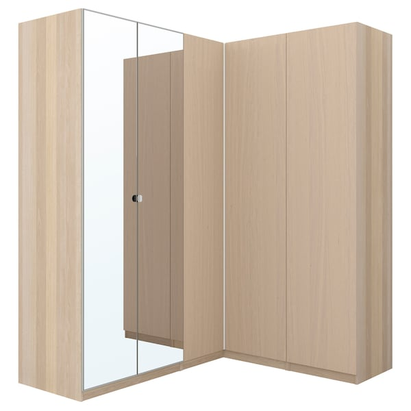 Corner Wardrobe Pax White Stained Oak Effect Forsand Vikedal