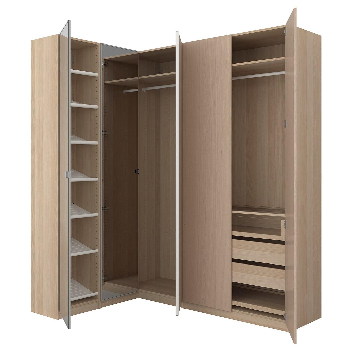 pax corner wardrobe white stained oak effect nexus vikedal 160 188 x 236 cm ikea. Black Bedroom Furniture Sets. Home Design Ideas