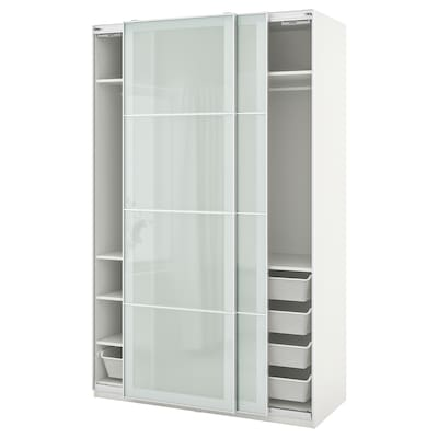 PAX / SEKKEN Wardrobe combination, white/frosted glass, 150x66x236 cm