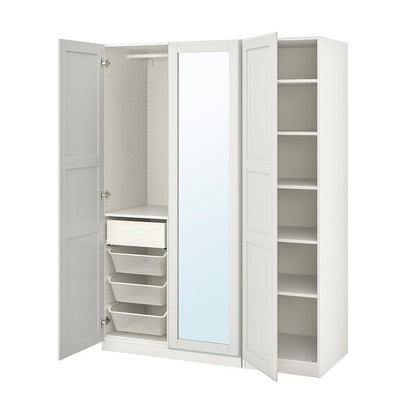 PAX / TYSSEDAL Wardrobe combination, white/mirror glass, 150x60x201 cm