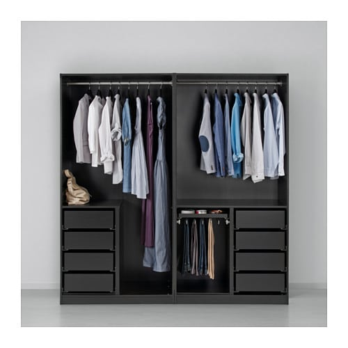 pax wardrobe black brown auli ilseng 200x66x201 cm ikea. Black Bedroom Furniture Sets. Home Design Ideas