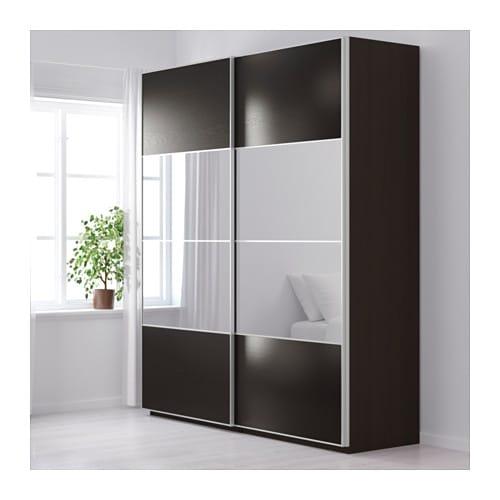 pax wardrobe black brown auli ilseng 200x66x236 cm ikea. Black Bedroom Furniture Sets. Home Design Ideas