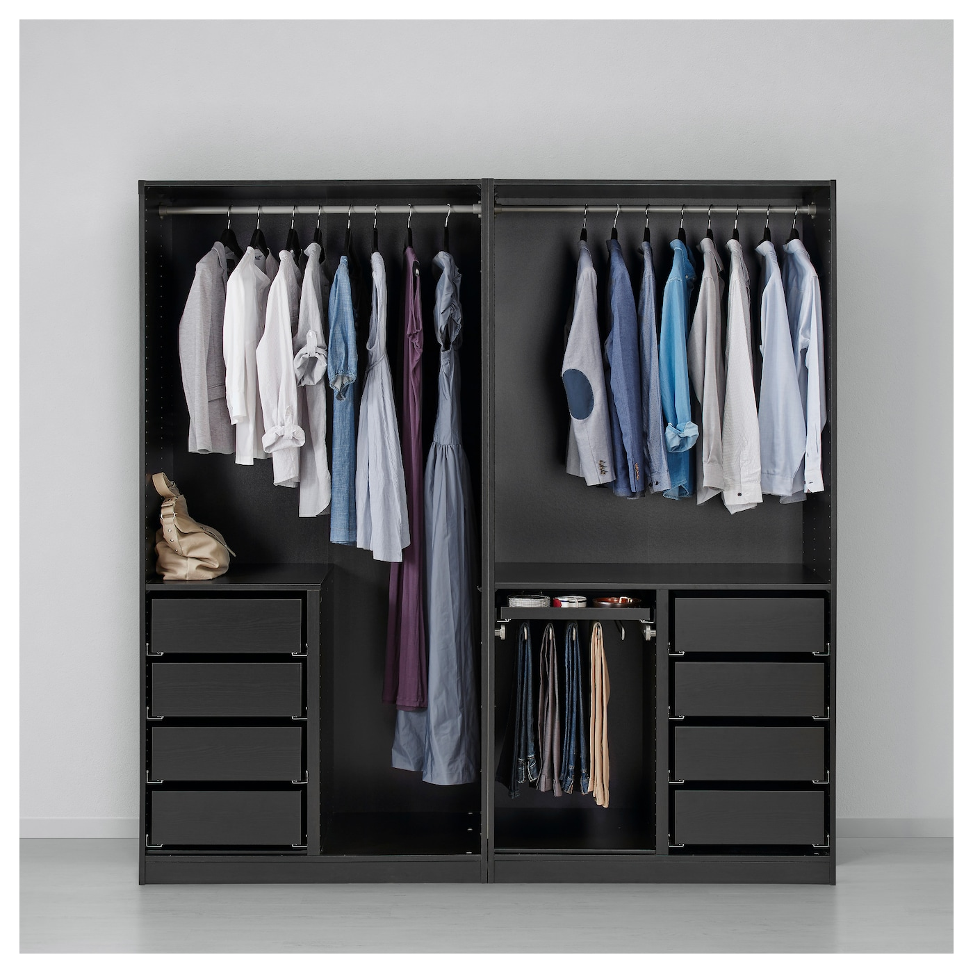 pax wardrobe black brown auli ilseng 200 x 66 x 201 cm ikea. Black Bedroom Furniture Sets. Home Design Ideas