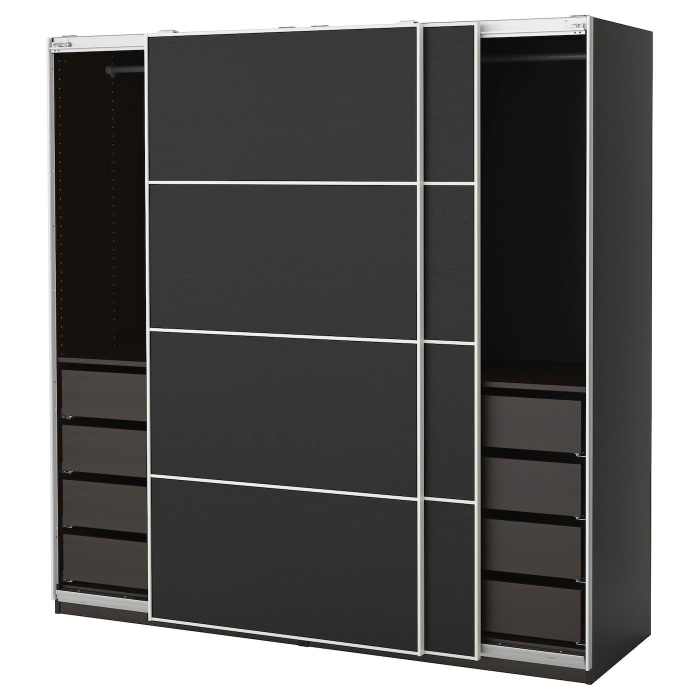 Pax wardrobe black brown ilseng black brown 200x66x201 cm for Ikea pax planen