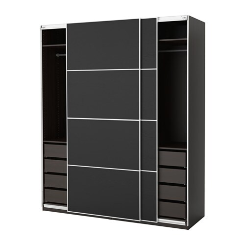 pax wardrobe black brown ilseng black brown 200x66x236 cm ikea. Black Bedroom Furniture Sets. Home Design Ideas