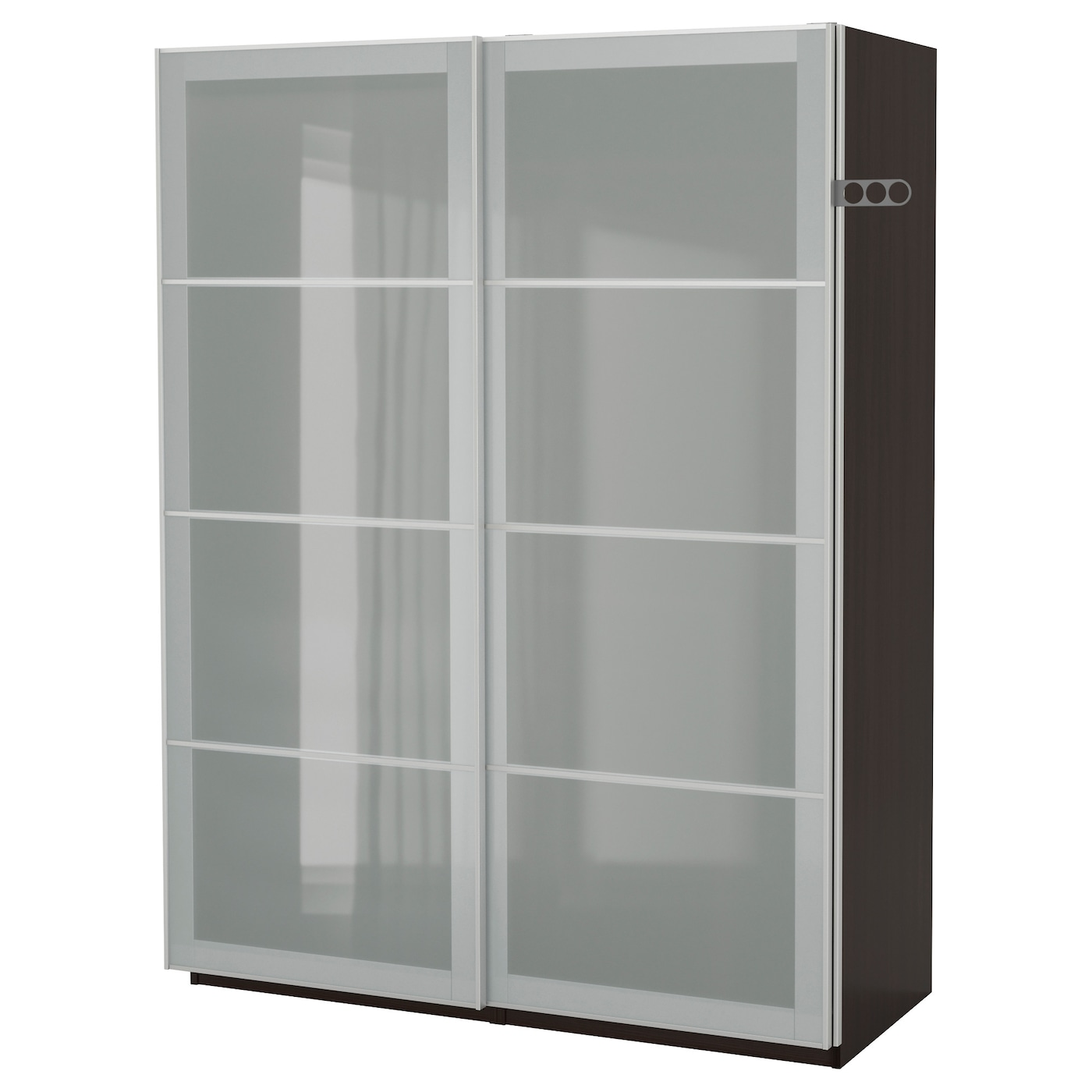 pax wardrobe black brown sekken frosted glass 150x66x201. Black Bedroom Furniture Sets. Home Design Ideas