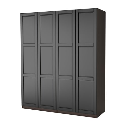 pax wardrobe black brown undredal black 200x60x236 cm ikea. Black Bedroom Furniture Sets. Home Design Ideas