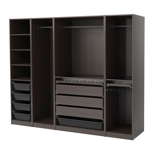 Pax Wardrobe Black Brown 250x58x201 Cm Ikea