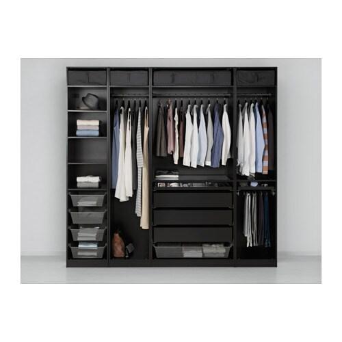 Pax wardrobe black brown 250x58x236 cm ikea for Armoire penderie 4 portes