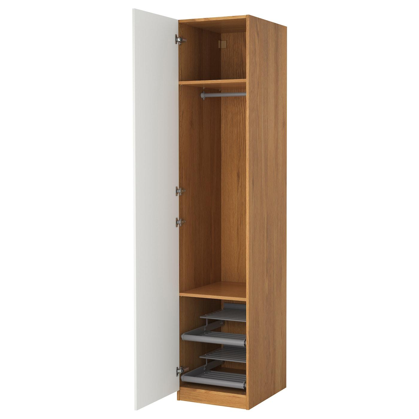 Pax wardrobe oak effect vinterbro white 50x60x236 cm ikea for Armario 120 ancho