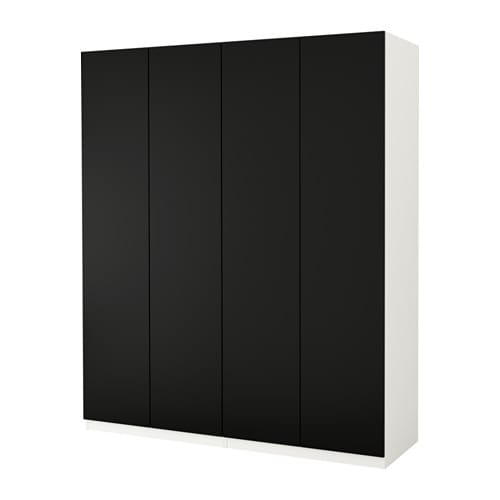 pax wardrobe white tanem black 200x60x236 cm ikea. Black Bedroom Furniture Sets. Home Design Ideas