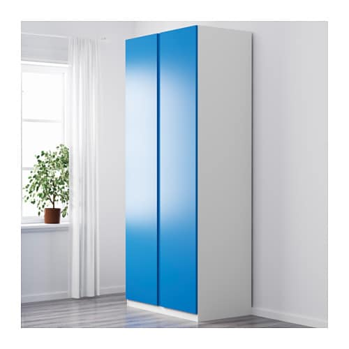 pax wardrobe white vikanes blue 100x60x236 cm ikea. Black Bedroom Furniture Sets. Home Design Ideas