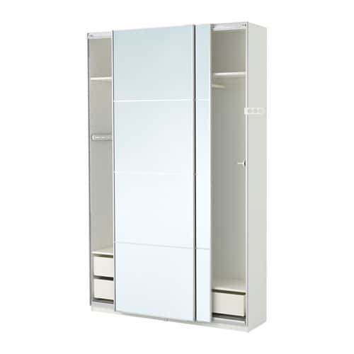 Pax wardrobe white auli mirror glass 150x44x236 cm ikea - Ikea armoire with mirror ...
