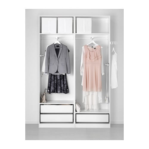 Pax wardrobe white auli mirror glass 150x44x236 cm ikea for Miroir 150x50