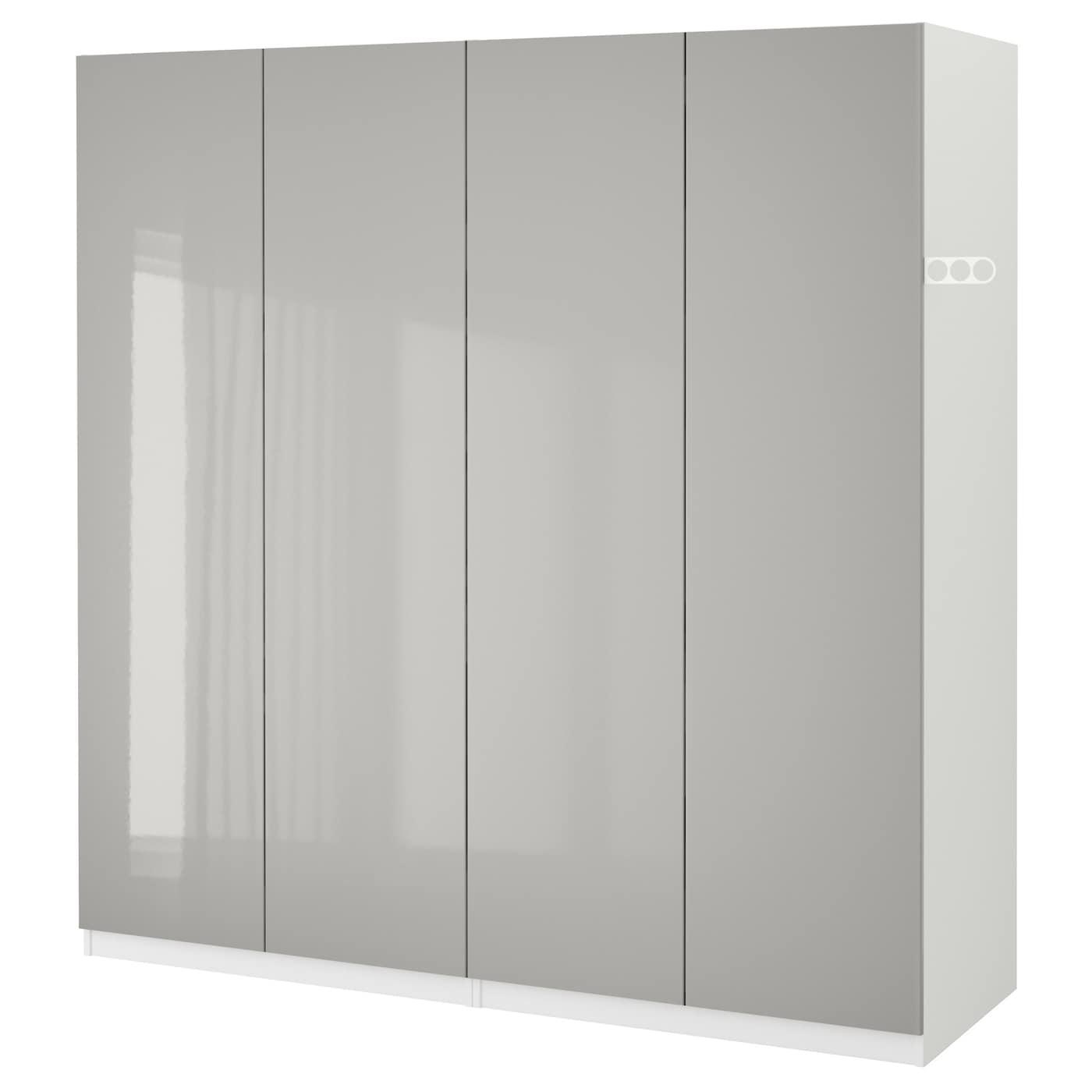 Pax wardrobe white fardal high gloss light grey 200x60x201 cm ikea - White armoire ikea ...