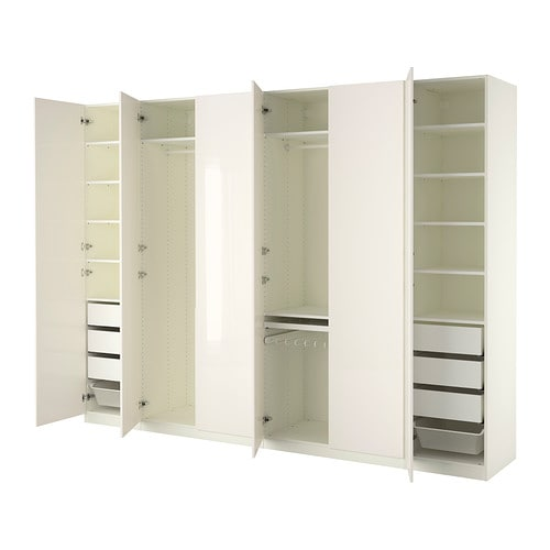 PAX Wardrobe White/fardal high-gloss/white 300x60x236 cm - IKEA