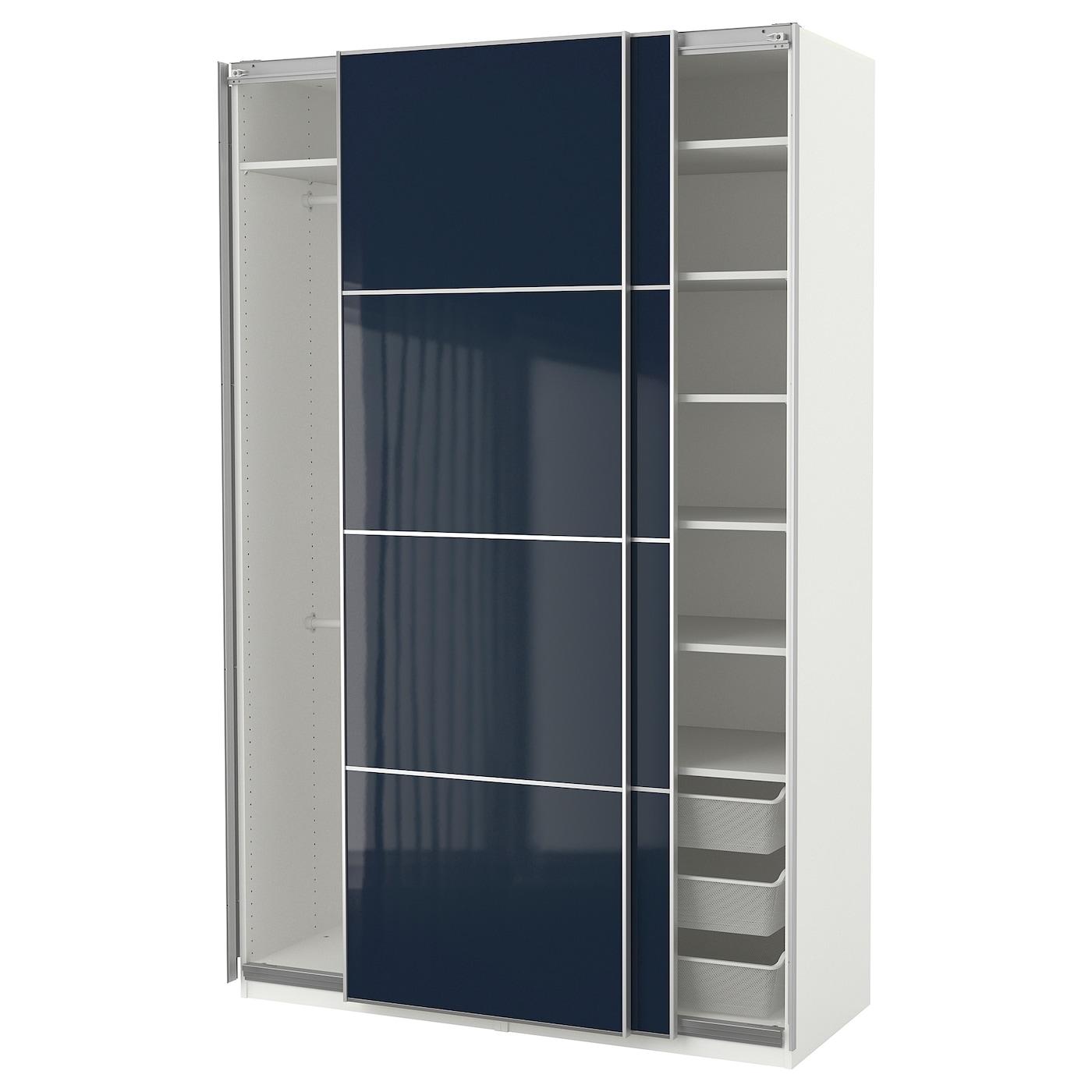 pax wardrobe white hokksund high gloss dark blue. Black Bedroom Furniture Sets. Home Design Ideas